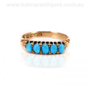 Antique Edwardian era 18ct gold turquoise ring made in 1910