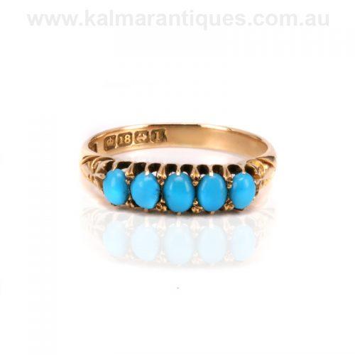 Antique Edwardian era 18ct gold turquoise ring made in 1910