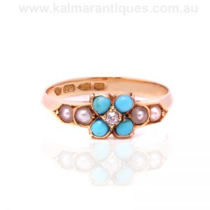 18ct antique turquoise, pearl and diamond ring made in 1888