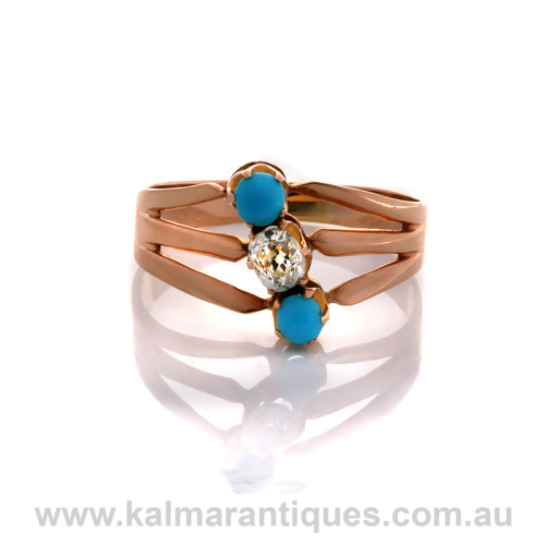 Antique turquoise and diamond ring in rose gold