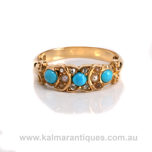Antique turquoise diamond and pearl ring
