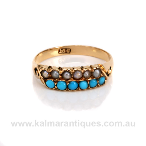 Antique turquoise and pearl ring