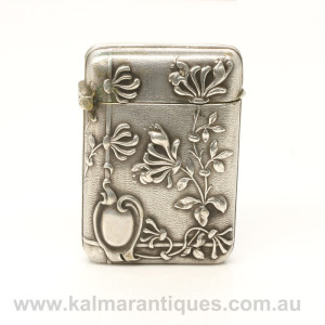 Art Nouveau antique silver vesta case made in France