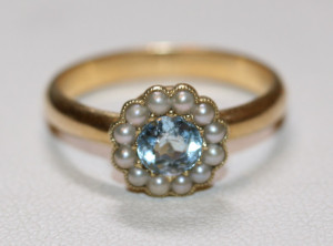 Edwardian aquamarine and pearl ring