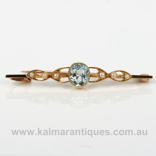 Antique aquamarine and pearl brooch