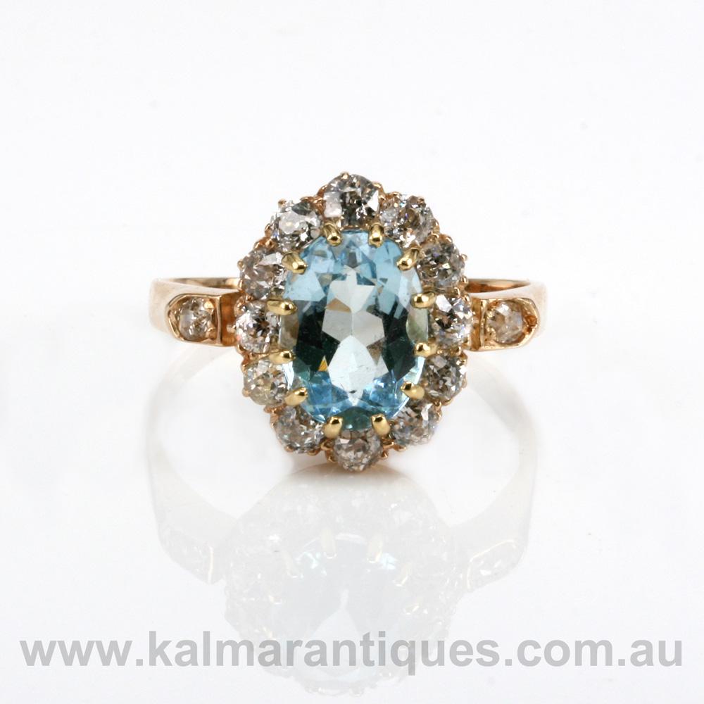Antique Aquamarine And Diamond Cluster Ring