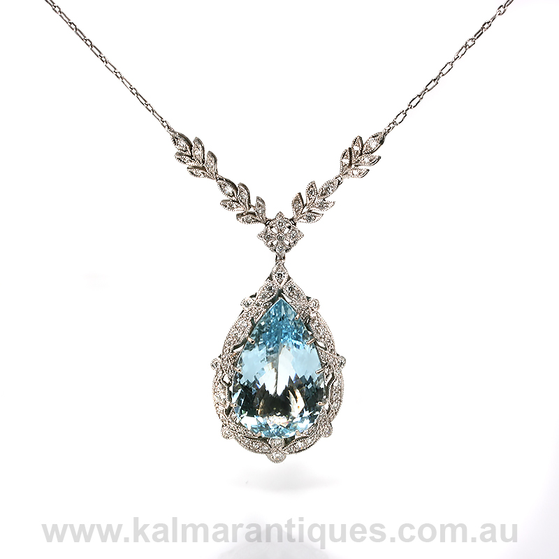 Stunning aquamarine and diamond necklace aloadofball Image collections