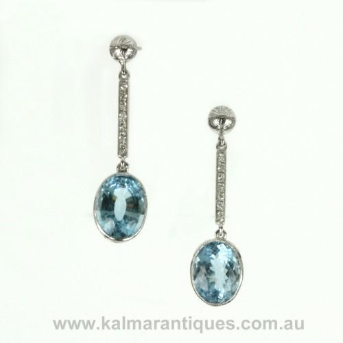 18ct white gold Art Deco aquamarine earrings
