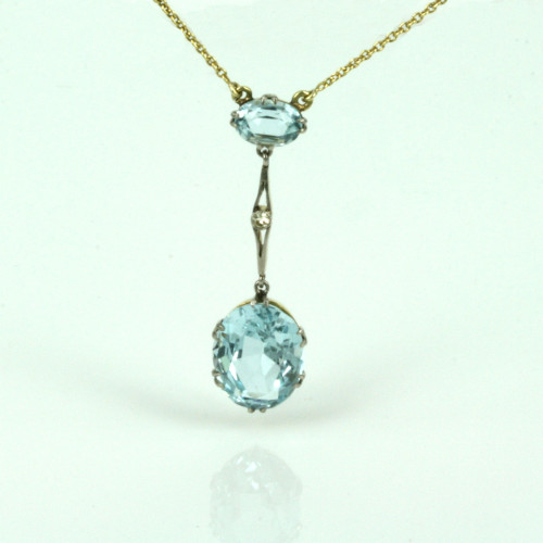 Antique aquamarine pendant in its original box.