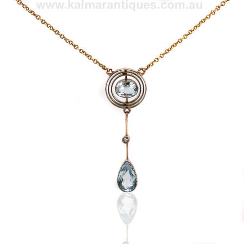 Antique aquamarine and diamond pendant