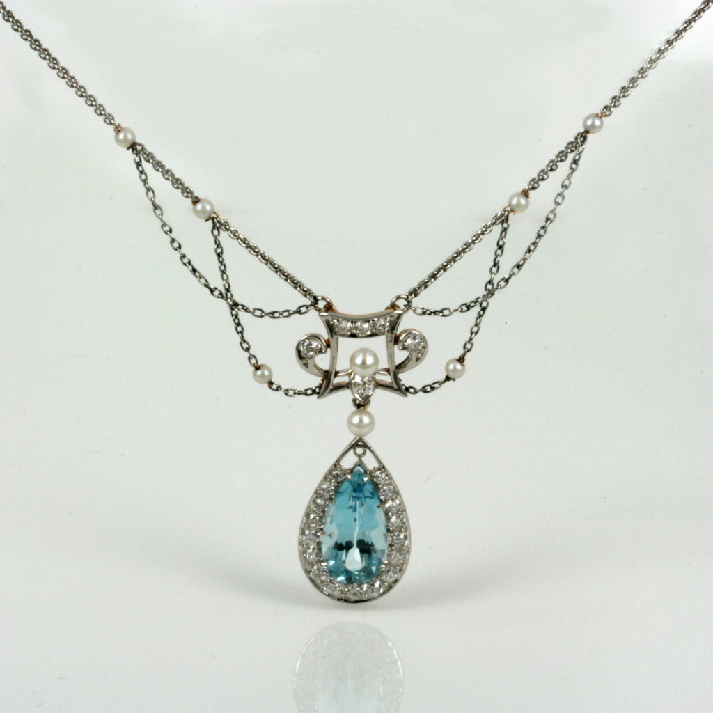 Buy Magnificent Aquamarine And Diamond Necklace Sold Items