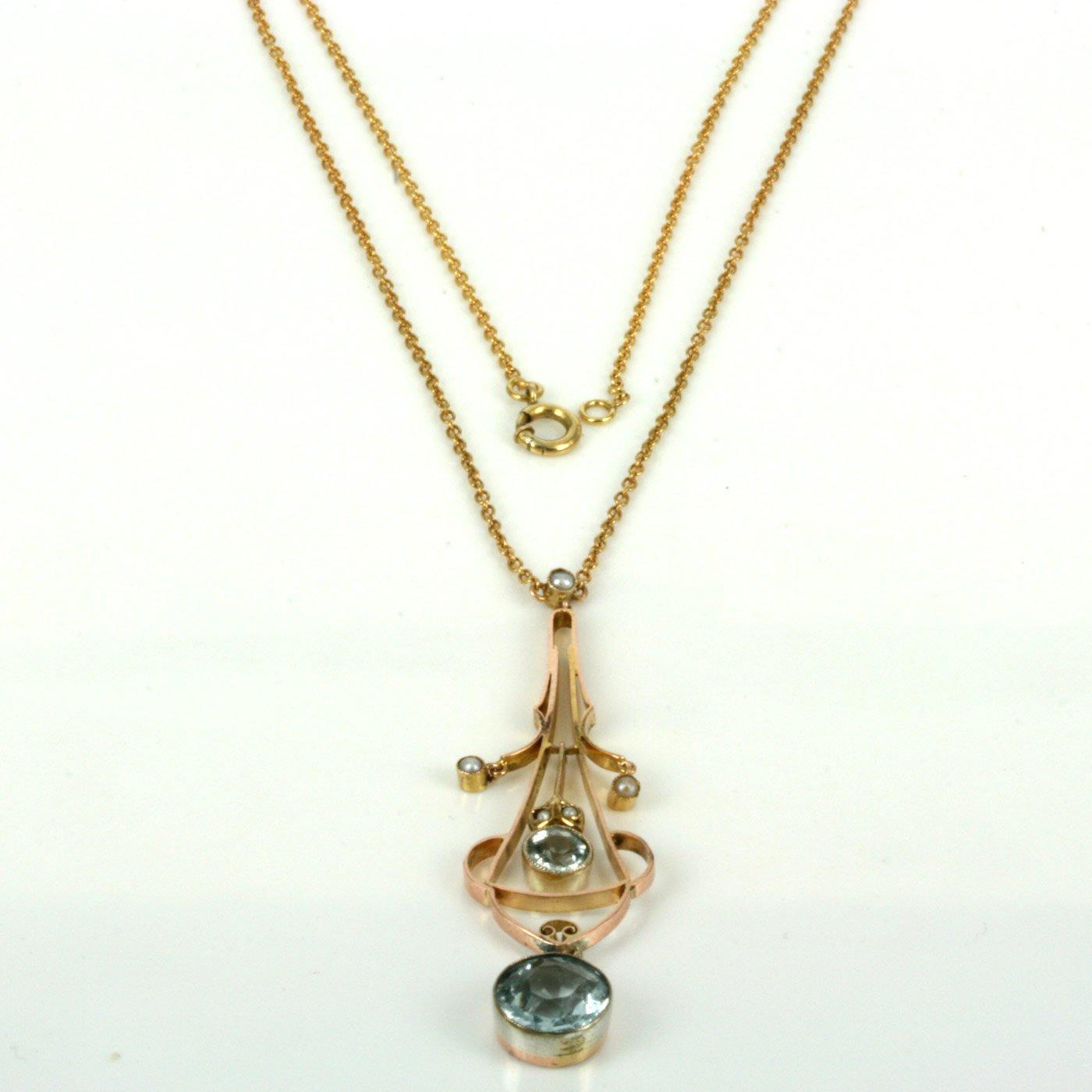 Aquamarine Necklaces: Buy Antique Edwardian Era Aquamarine And Pearl Necklace