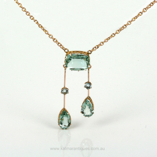 Antique unheat treated aquamarine necklace.