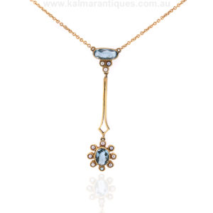 Antique 15ct gold Edwardian aquamarine and pearl pendant