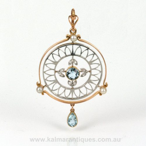 Art Deco aquamarine, pearl and diamond pendant