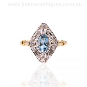18ct gold aquamarine and diamond lozenge shaped ring