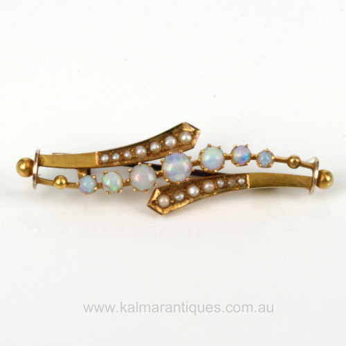 Antique opal and pearl brooch by Aronson