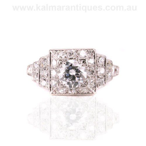 Hand made platinum 1920's Art Deco diamond engagement ring