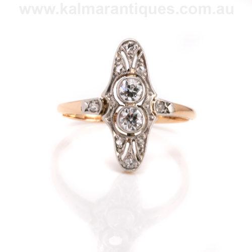 Art Deco 2 stone diamond engagement ring Sydney