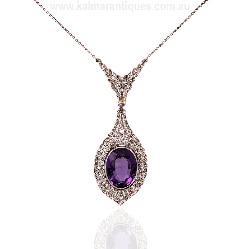 Elegant 1920 S Art Deco Amethyst And Diamond Necklace