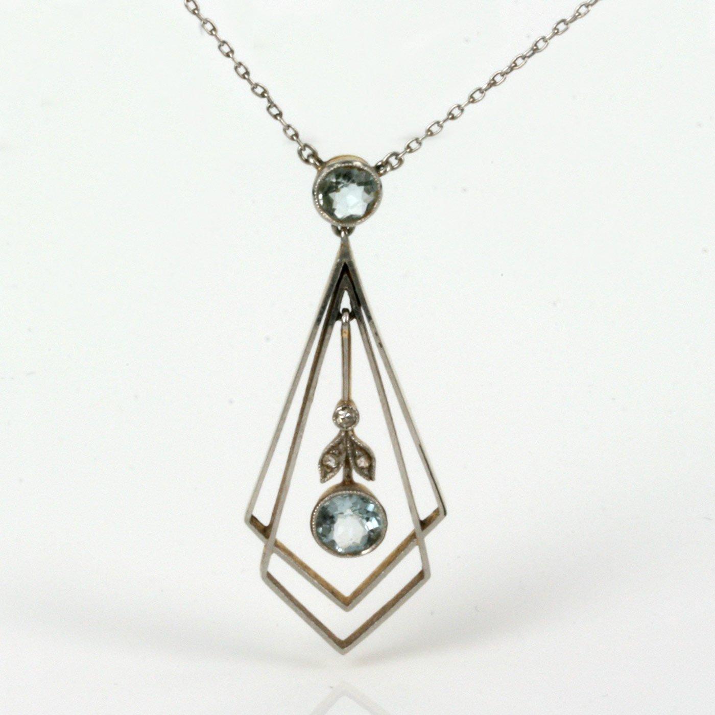 Buy 18ct platinum art deco aquamarine pendant sold items sold 18ct platinum art deco aquamarine pendant aloadofball Images