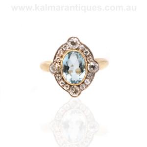Art Deco aquamarine and diamond cluster ring