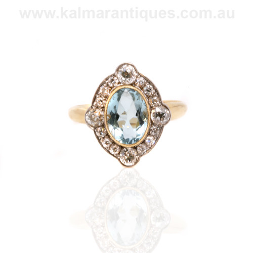 Art Deco aquamarine and diamond cluster ring