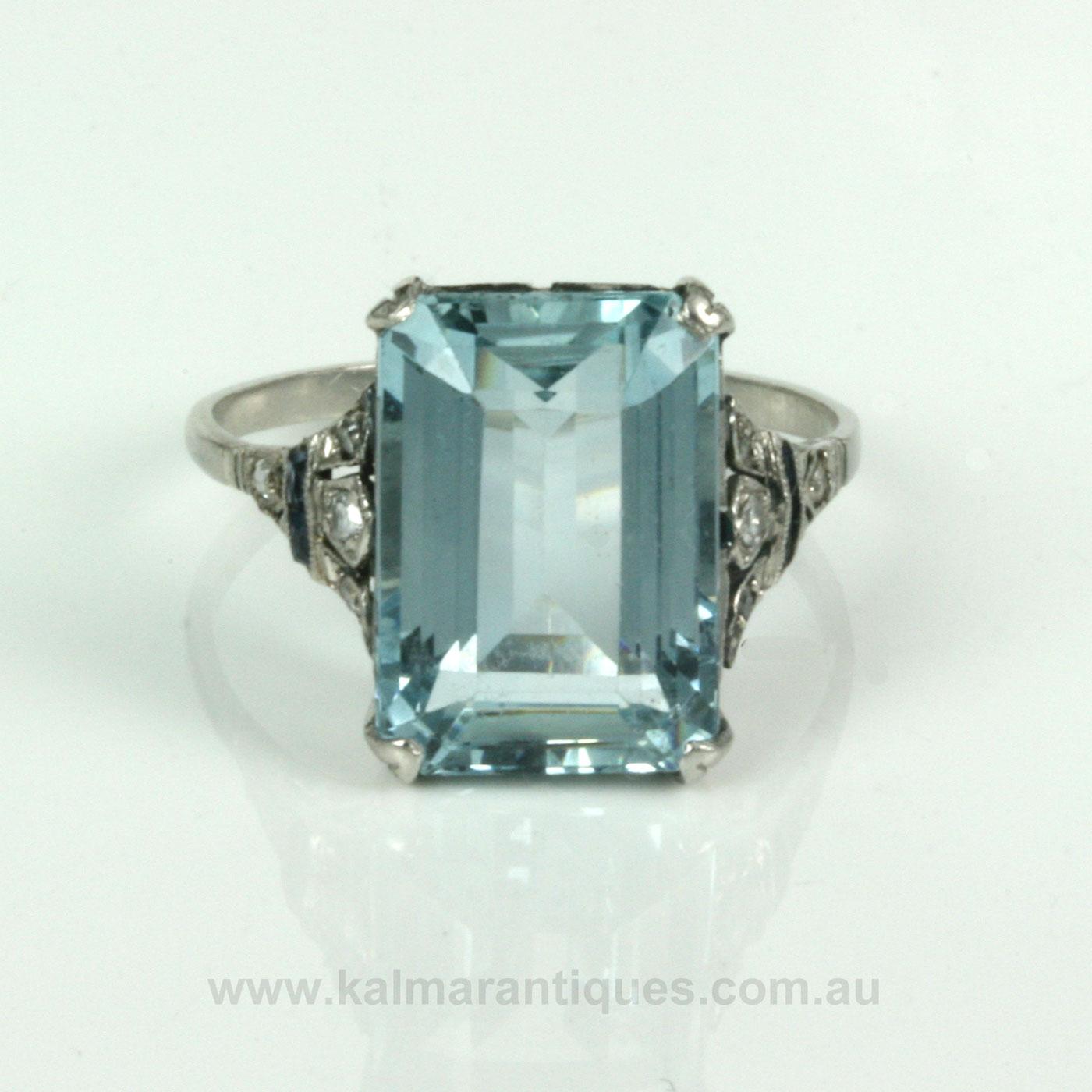 Buy Art Deco Aquamarine Ring In Platinum Sold Items Sold