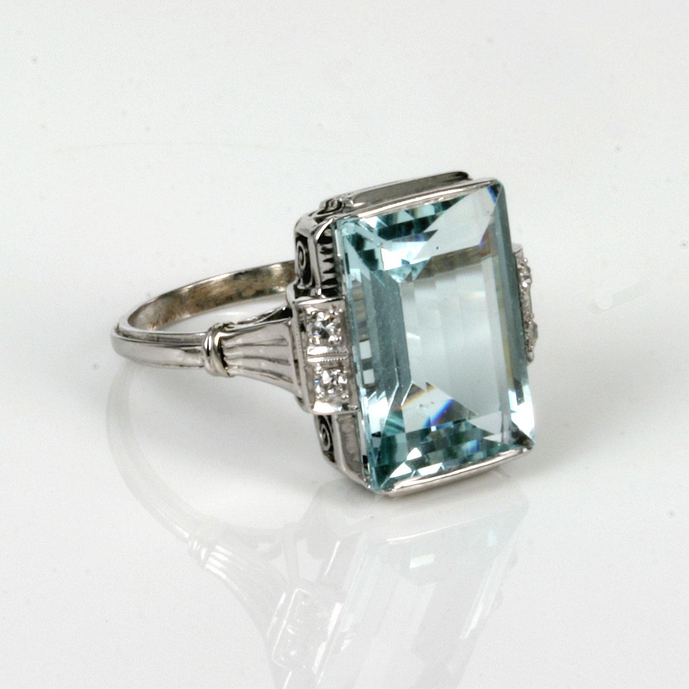 aquamarine deco ring buy deco platinum aquamarine and ring sold
