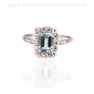 Art Deco aquamarine and diamond ring Sydney