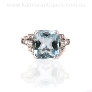 Art Deco aquamarine and diamond ring set in platinum