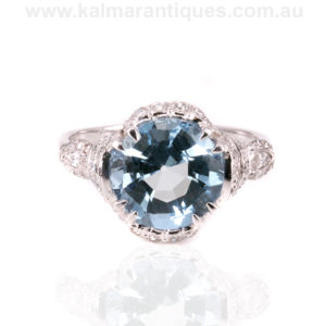 1920's Art Deco era aquamarine and diamond ring