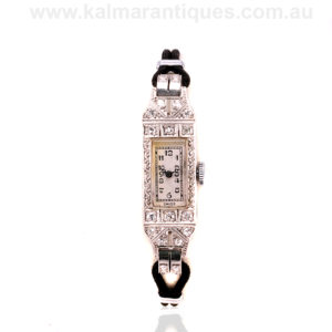 Ladies 1920's Art Deco platinum diamond watch by Birks