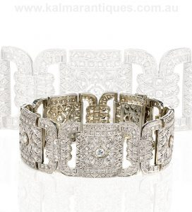 Platinum Art Deco diamond bracelet from the 1920's