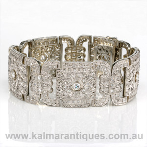 Platinum Art Deco diamond bracelet