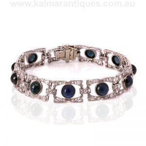 Art Deco cabochon sapphire and diamond bracelet