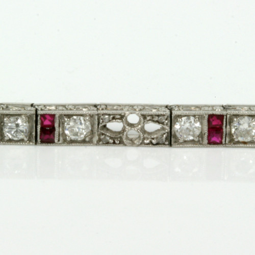 Platinum Art Deco ruby & diamond bracelet.