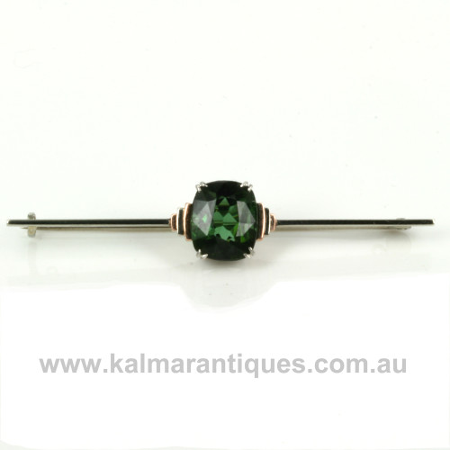 Art Deco tourmaline brooch in rose and white gold.