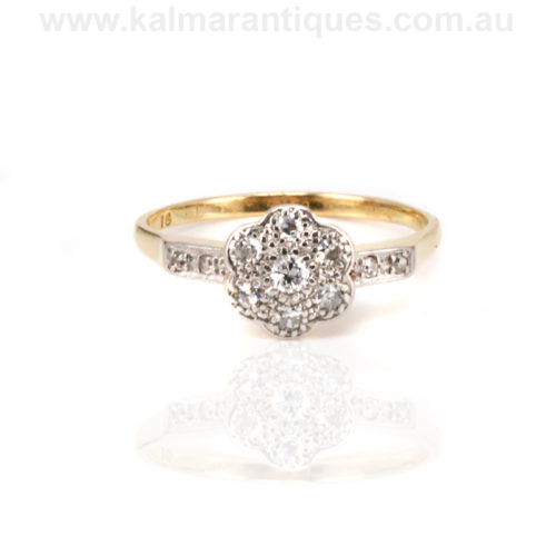 Antique diamond cluster engagement ring Sydney