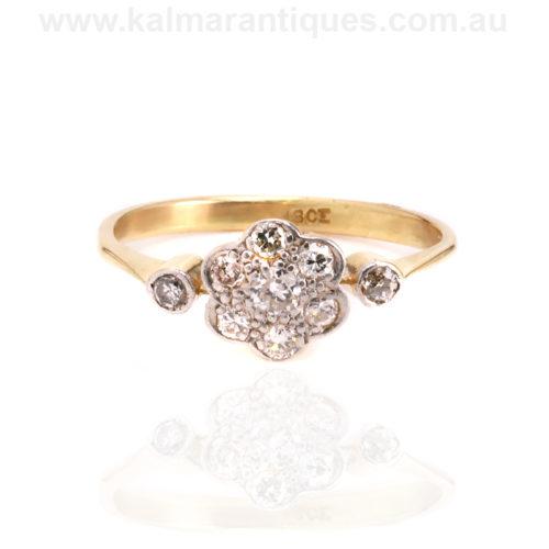 Art Deco diamond cluster engagement ring Sydney