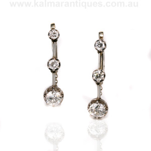 Platinum Art Deco diamond earrings