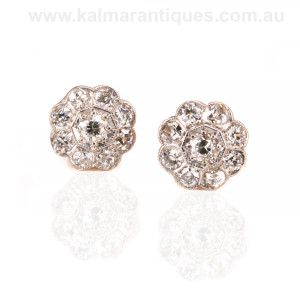 Art Deco diamond cluster earrings