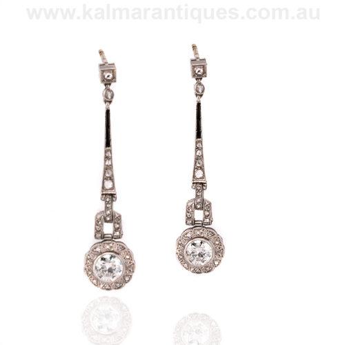 Art Deco onyx and diamond drop earrings