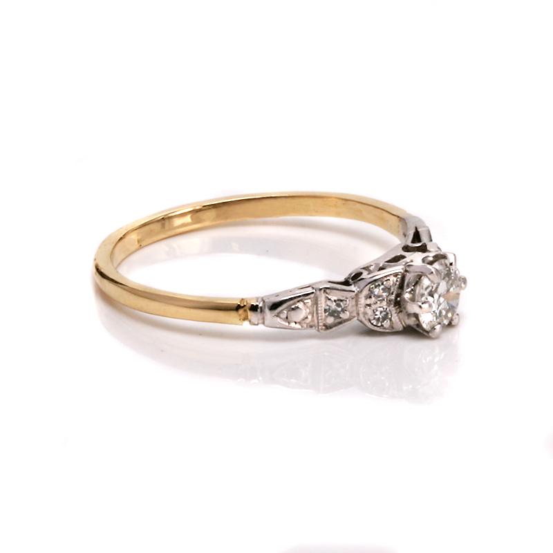 art deco 18ct and platinum diamond engagement ring. Black Bedroom Furniture Sets. Home Design Ideas