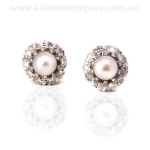 Art Deco pearl and diamond cluster earrings