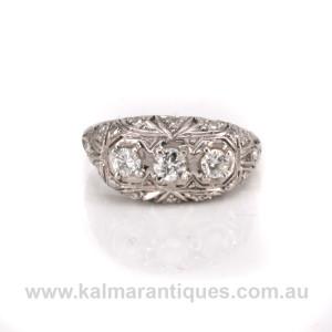 Platinum Art Deco diamond engagement ring