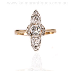 18ct gold and platinum Art Deco era diamond ring