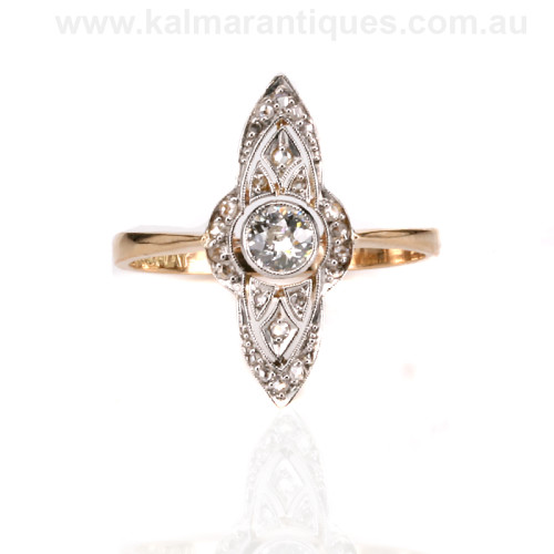 18ct gold and platinum Art Deco era diamond ring