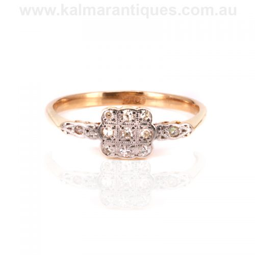 Art Deco square shaped diamond cluster engagement ring