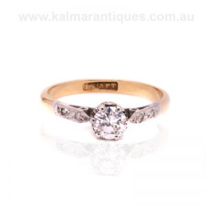 18ct gold and platinum Art Deco diamond engagement ring